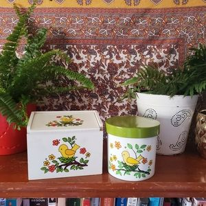 Vintage 70's yellow bird recipe box & canister